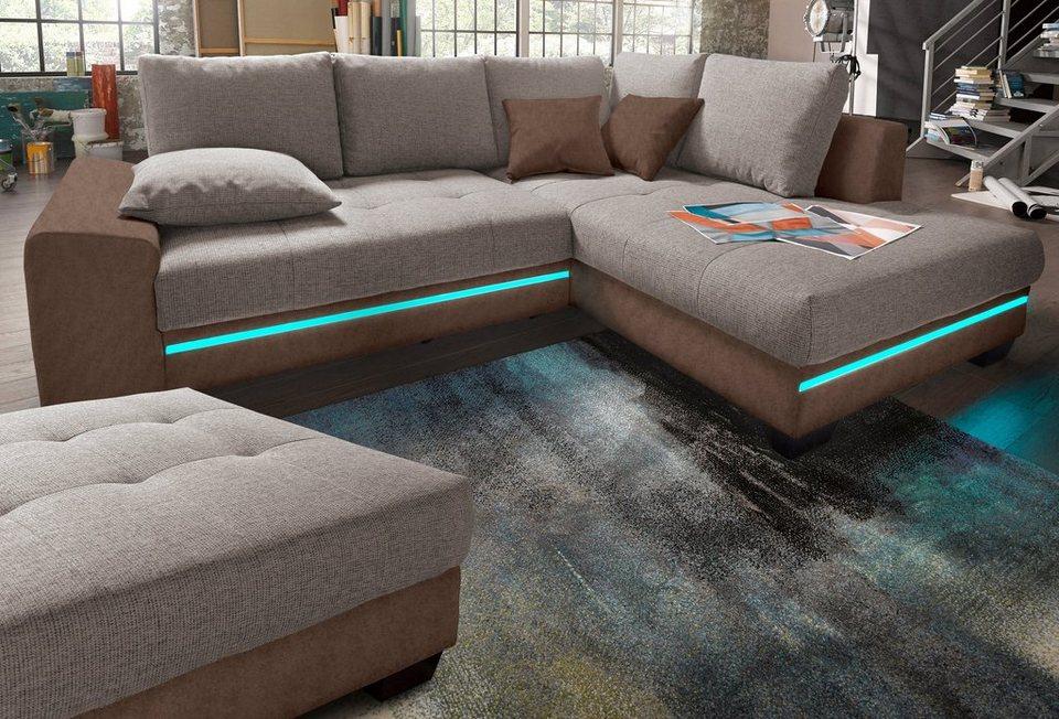 nova via ecksofa mit beleuchtung wahlweise mit bluetooth. Black Bedroom Furniture Sets. Home Design Ideas