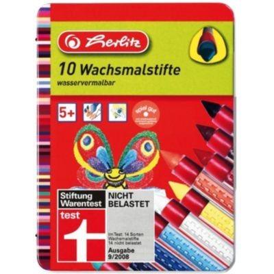 Herlitz Wachsmalstifte mit Gummigriffzone, 10 Farben