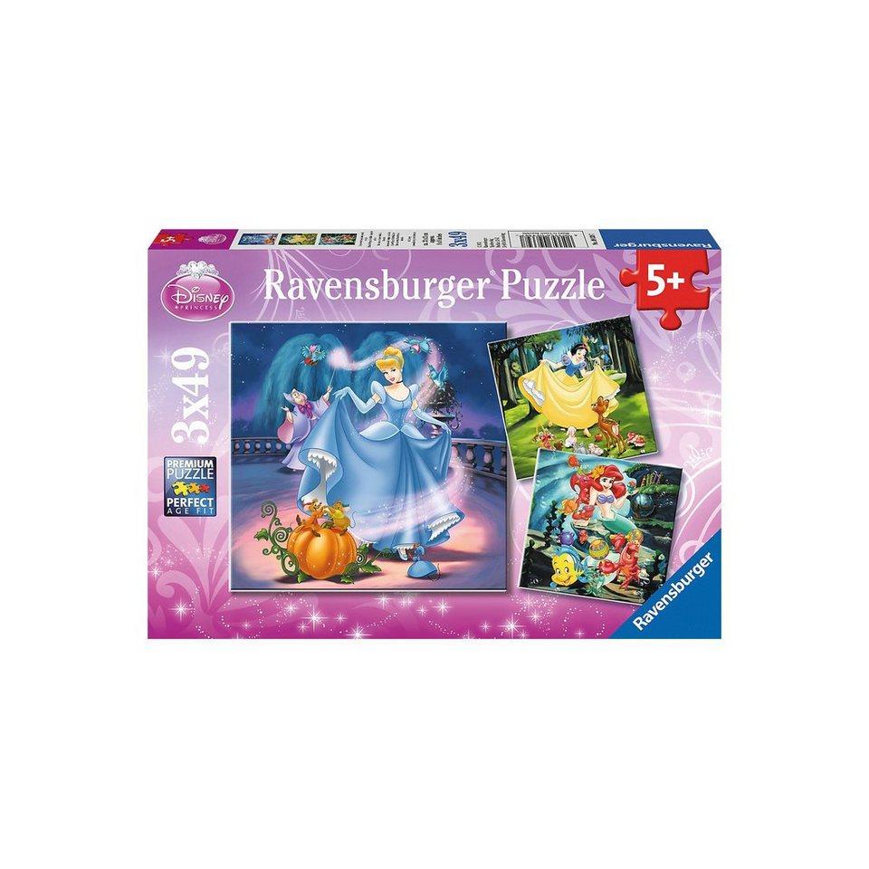Ravensburger Puzzle-Set- 3 x 49 Teile- Schneewittchen, Arielle und Cinder