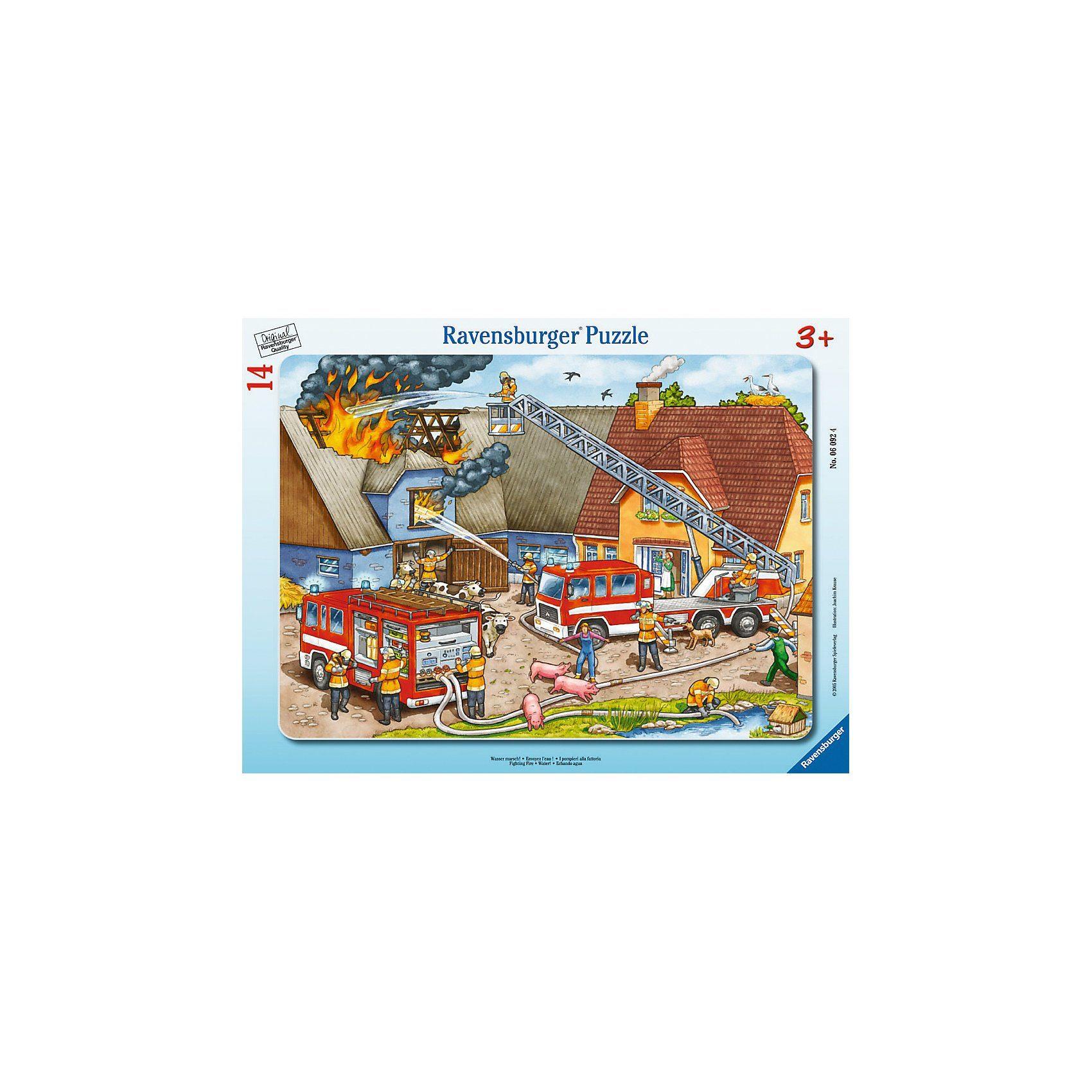 Ravensburger Rahmenpuzzle-14 Teile- Wasser marsch!