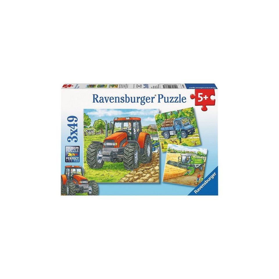 Ravensburger Puzzle-Set- 3 x 49 Teile- Große Landmaschinen