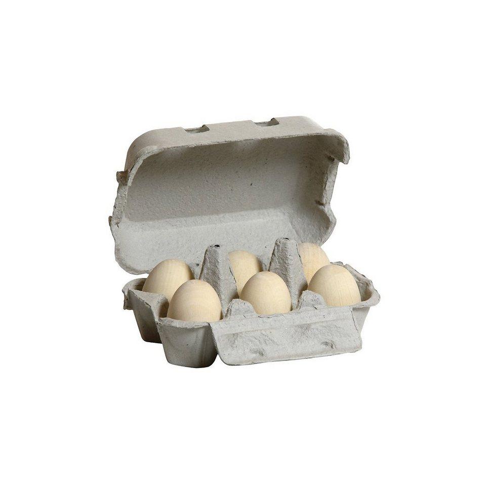 ERZI Spiellebensmittel Eier, weiß (6 Stück im Eierkarton)