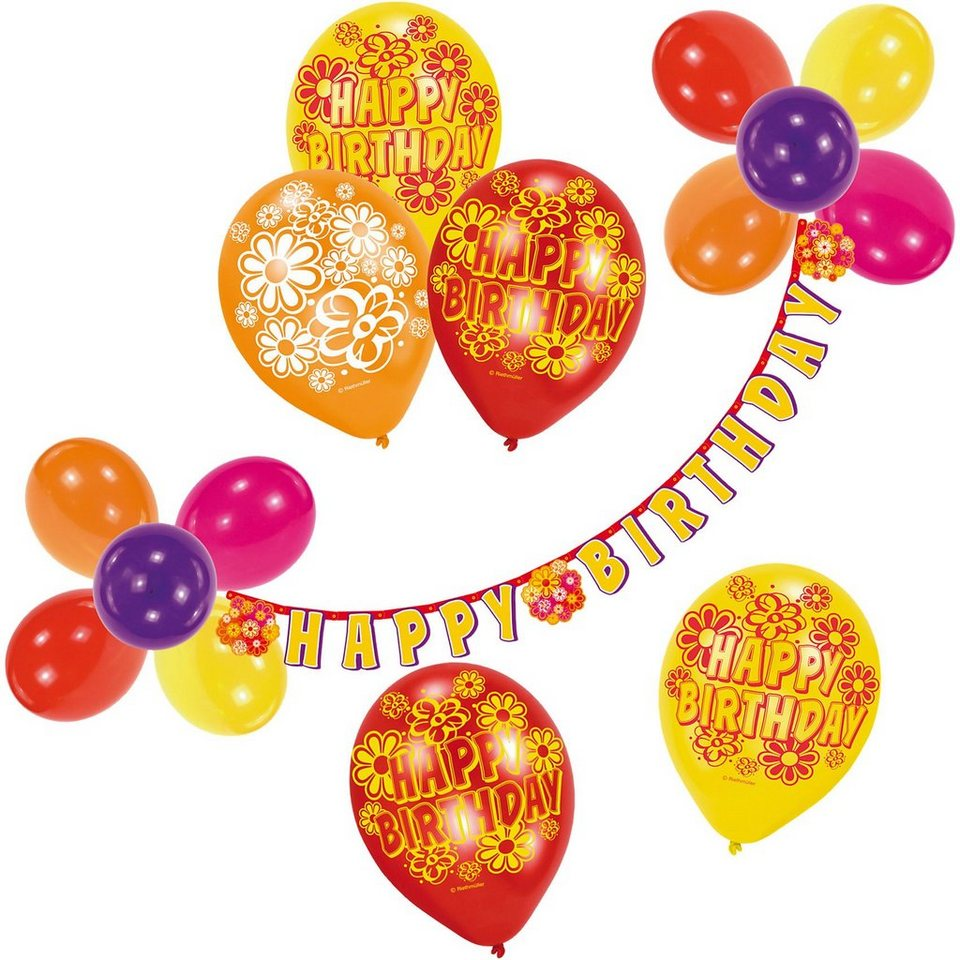 Riethmüller Luftballon-Deko-Set Happy Birthday, 21-tlg