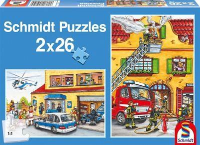 Schmidt Spiele Puzzle Set 2 x 26 Teile Feuerwehr und Polizei