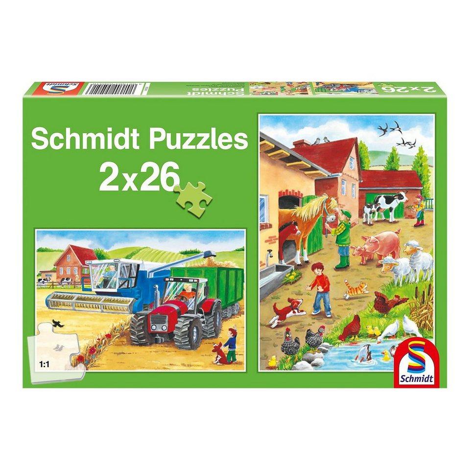 Schmidt Spiele Puzzle Set 2 x 26 Teile Auf dem Bauernhof