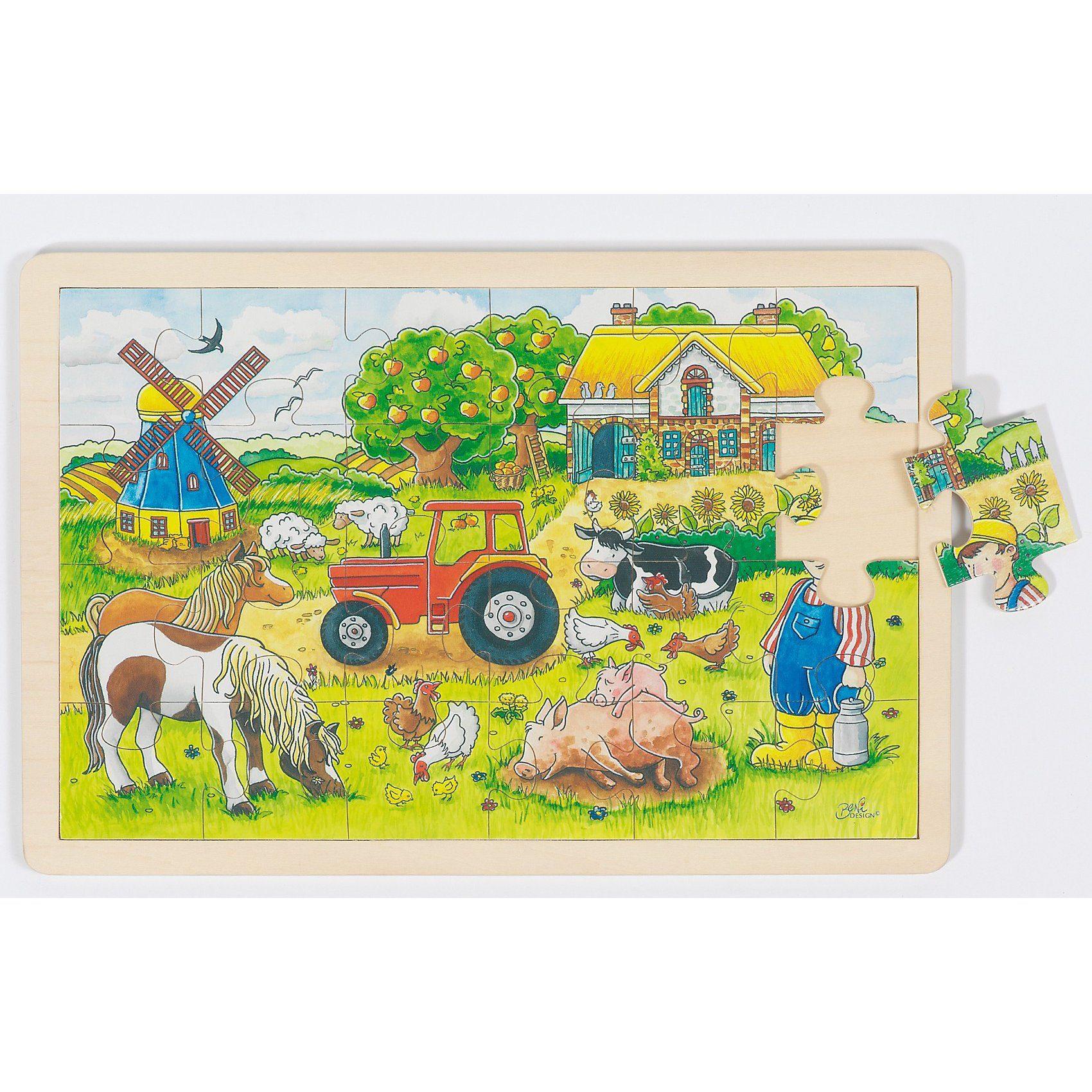 goki Holzpuzzle 24 Teile Müllers Farm