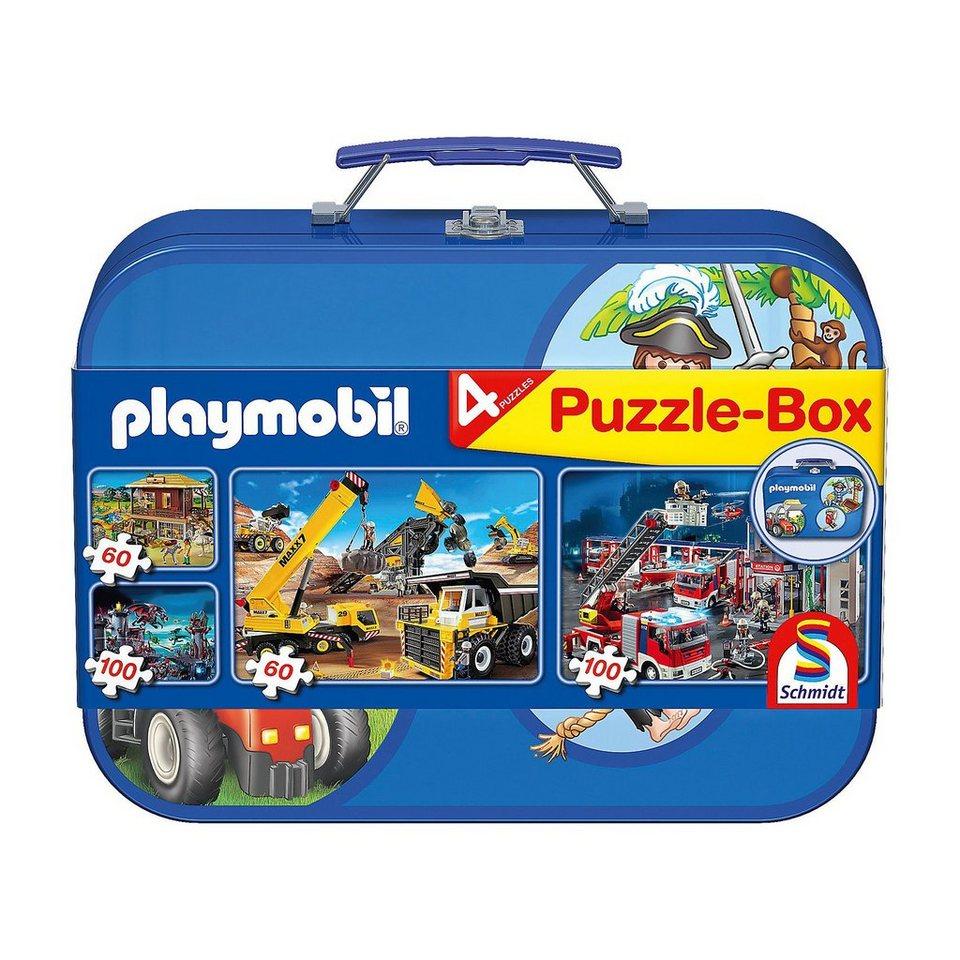 Schmidt Spiele Puzzlekoffer 2 x 60 u. 2 x 100 Teile Playmobil