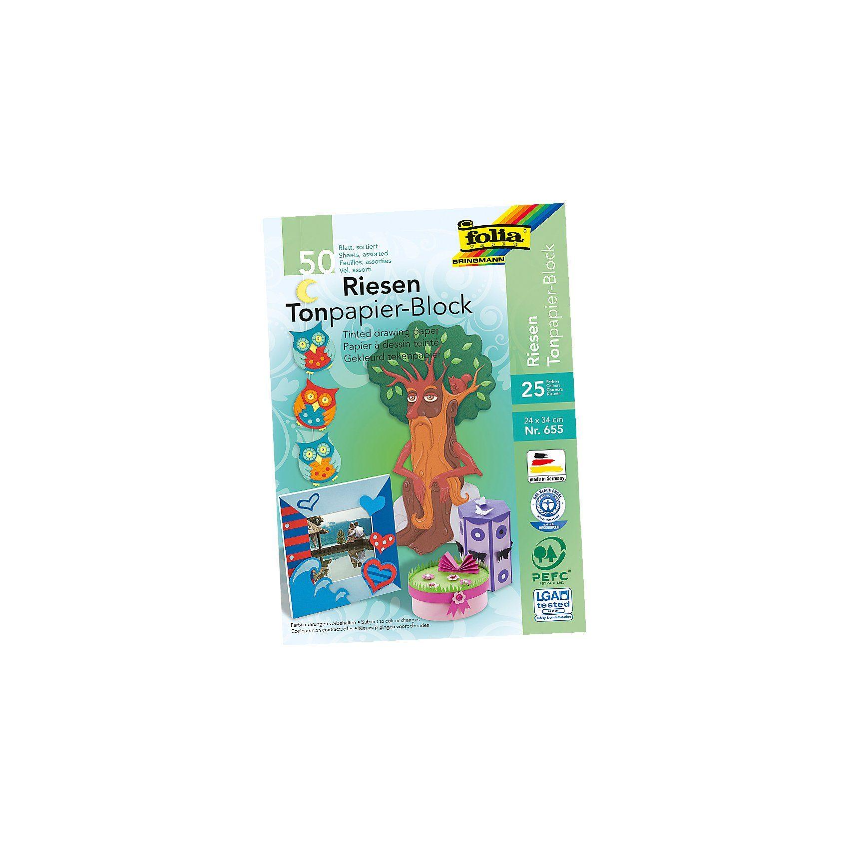 Folia Tonpapier Riesenblock, 25 Farben, 50 Blatt