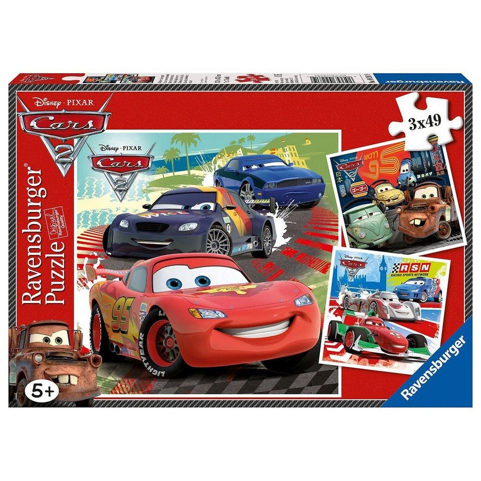 Ravensburger Disney Cars: Weltweiter Rennspaß - 3x49 Teile Puzzle