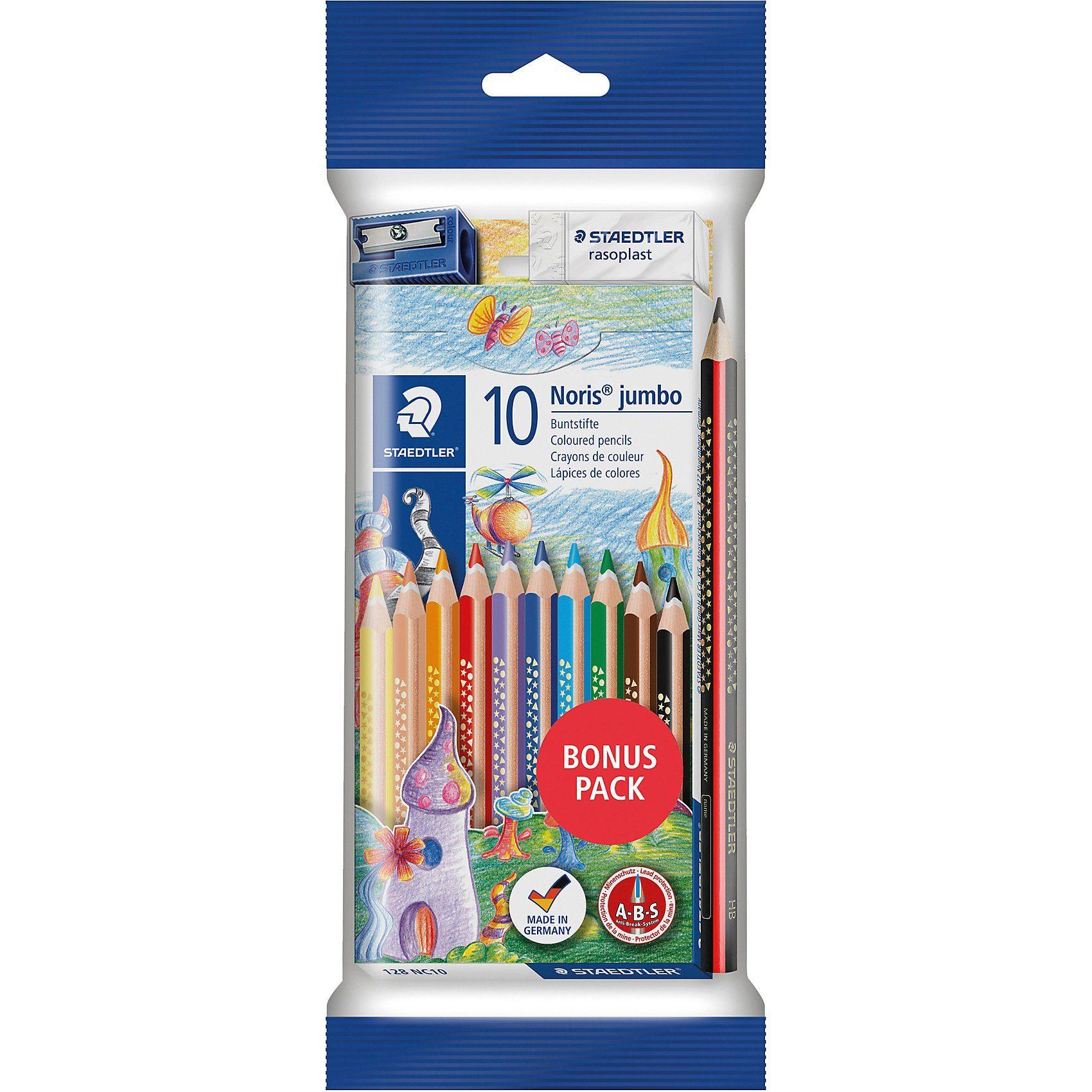 Staedtler TRICKI DICKI Jumbo-Farbstifte, 10 Farben, inkl. Bleistift &