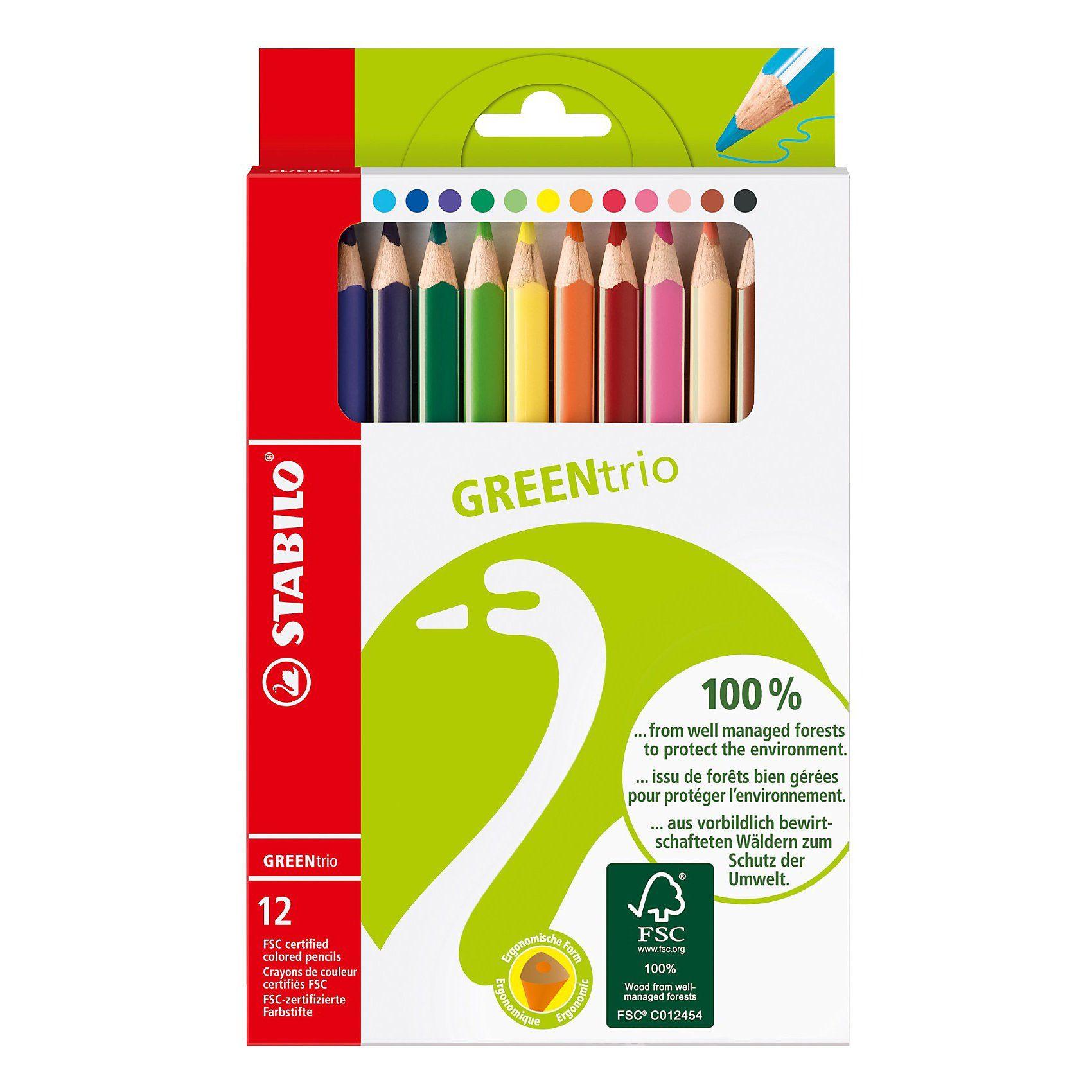 Stabilo GREENtrio Dickkern-Farbstifte, 12 Farben