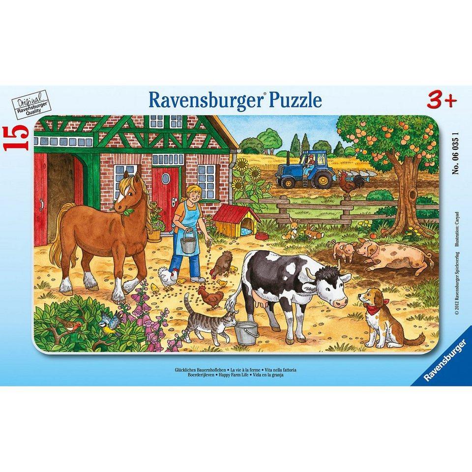 Ravensburger Rahmenpuzzle Glückliches Bauernhofleben 15 Teile
