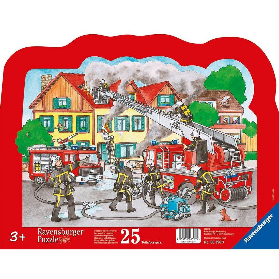 Ravensburger Kontur-Rahmenpuzzle Löscheinsatz der Feuerwehr 25 Teile