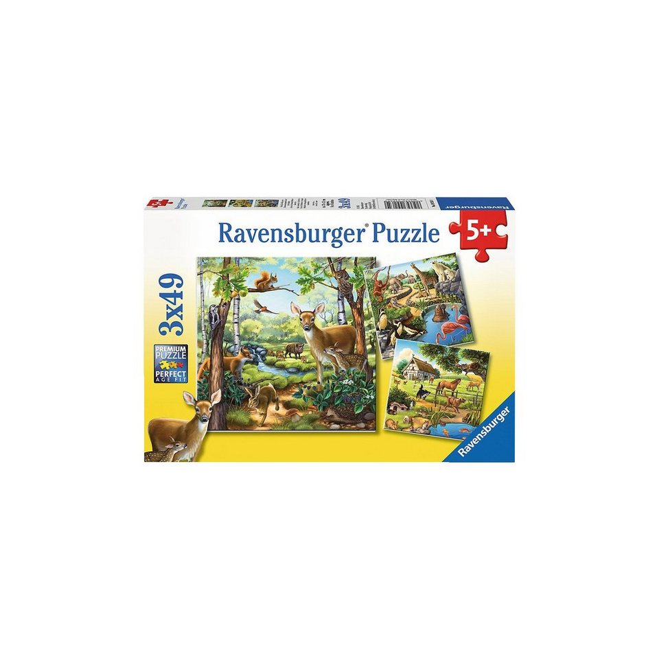 Ravensburger Puzzle Wald-/Zoo-/Haustiere 3x49 Teile