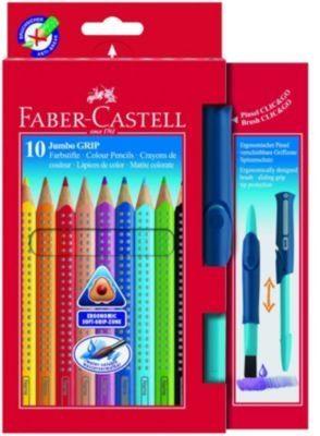 Faber-Castell JUMBO GRIP Buntstifte wasservermalbar, 10 Farben & CLIC & GO