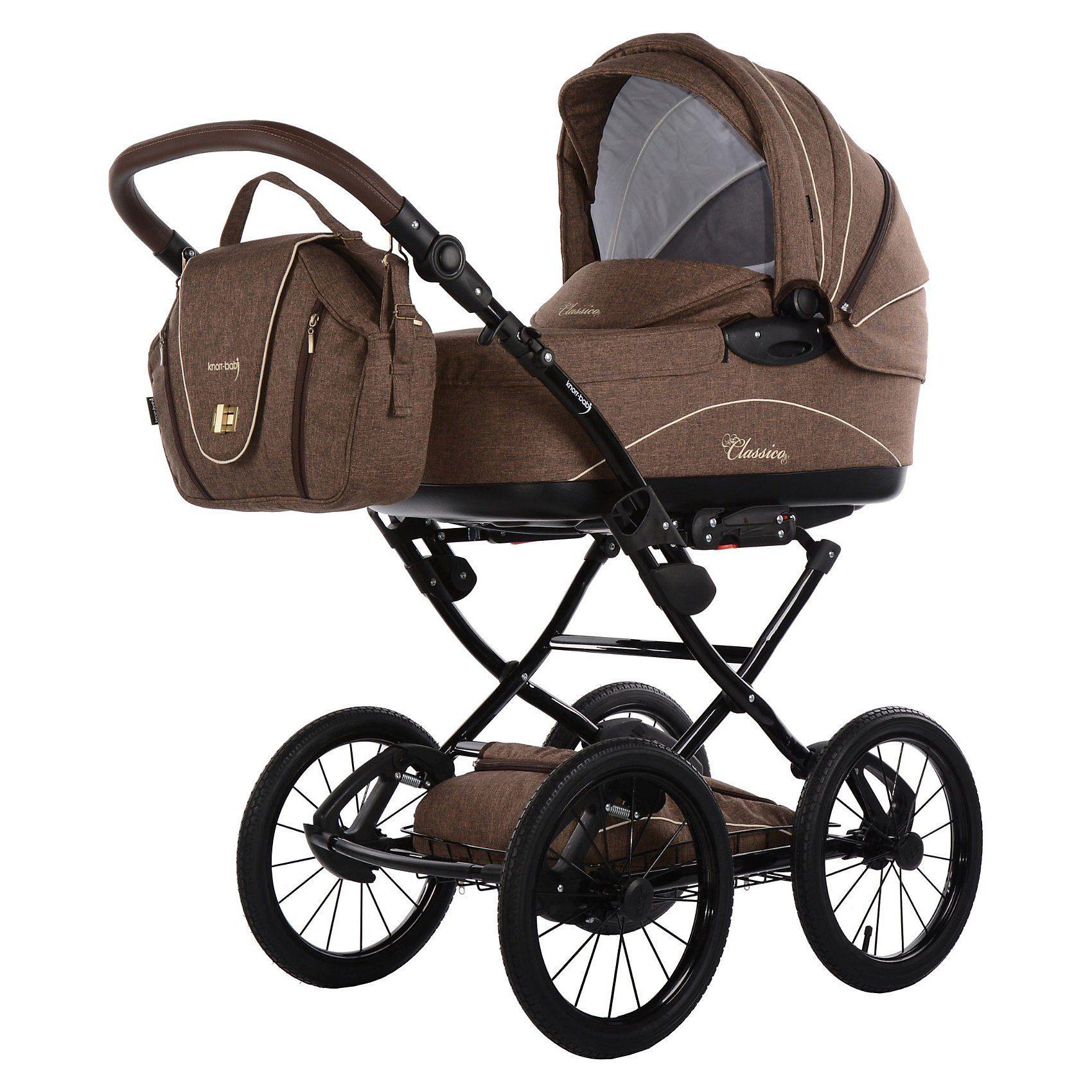 knorr-baby Kombi Kinderwagen Classico mit Wickeltasche & Handwärmer, br