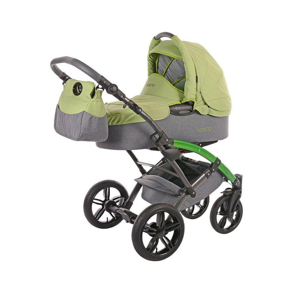 knorr-baby Kombi Kinderwagen Voletto Happy Colour mit Wickeltasche, gra in grau-grün