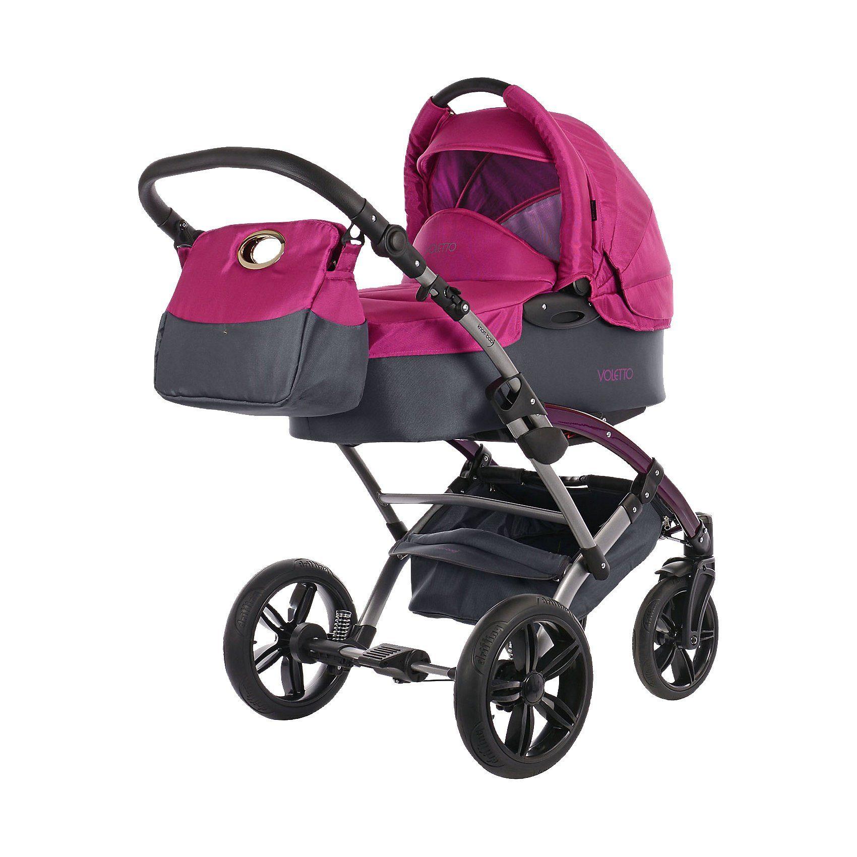 knorr-baby Kombi Kinderwagen Voletto Sport mit Wickeltasche, grau-pink