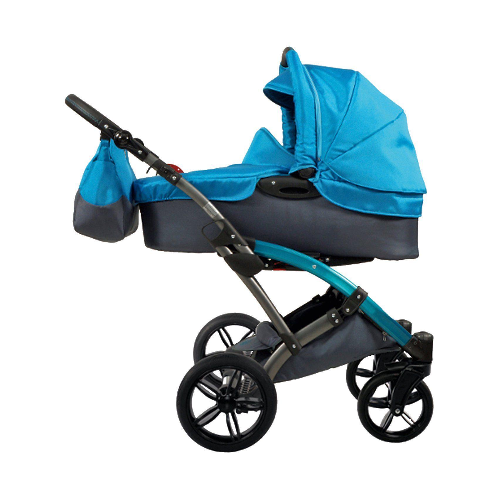 knorr-baby Kombi Kinderwagen Voletto Sport mit Wickeltasche, grau-türki