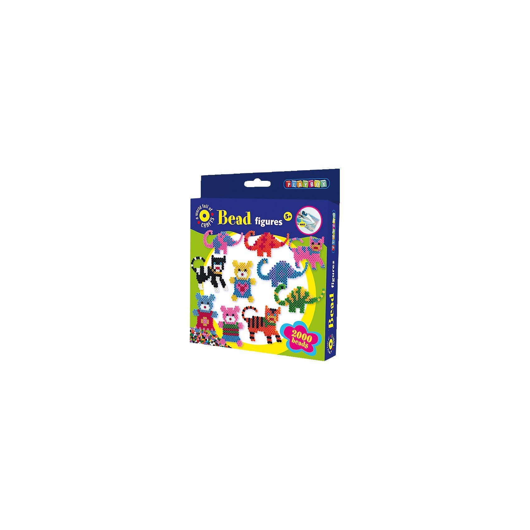 Playbox Bügelperlenset Katze, Dinosaurier & Bär - 2000 Perlen & Zube
