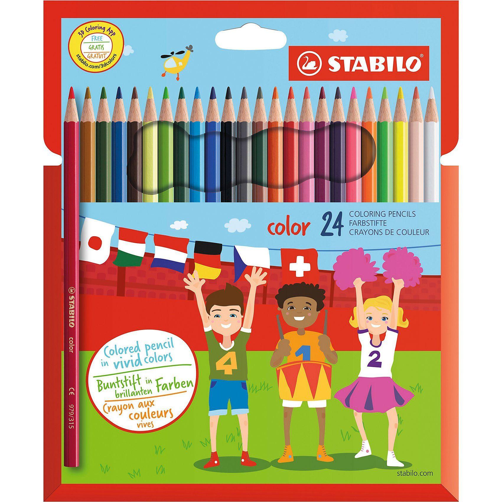STABILO Swano color Buntstifte, 24 Farben
