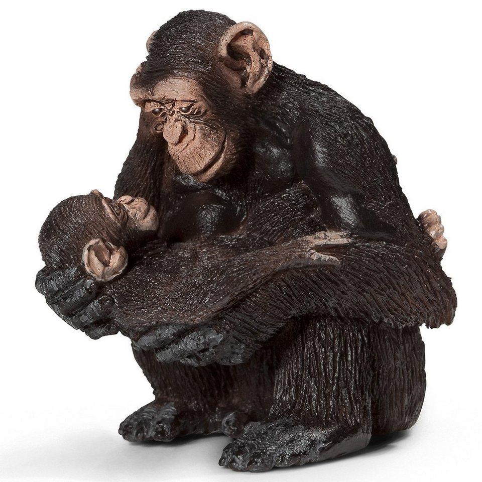 Schleich 14679 Wild Life: Schimpansen Weibchen mit Baby