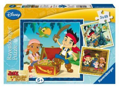 Ravensburger Puzzle 3 x 49 Teile Jake und die Nimmerlandpiraten: Jakes Pi