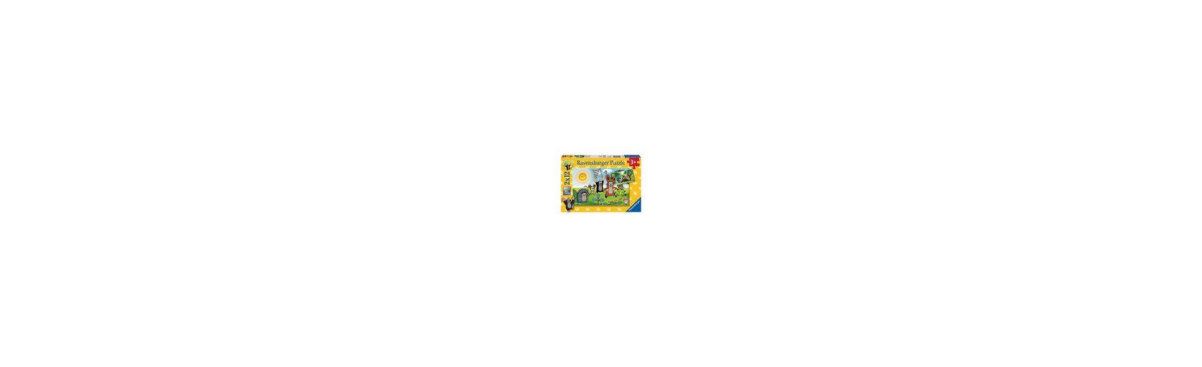 Ravensburger Puzzleset Der kleine Maulwurf: Lernspaß mit Maulwurf 2 x 12