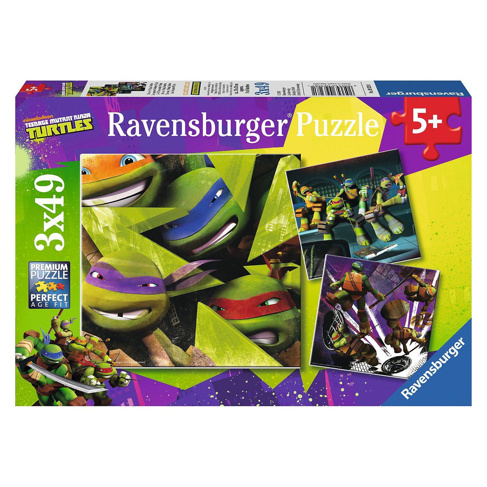 Ravensburger Puzzleset Die vier Ninja Turtles 3 x 49 Teile