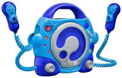 bigben CD-Player für Kinder mit 2 Mikrofonen, blau/grau