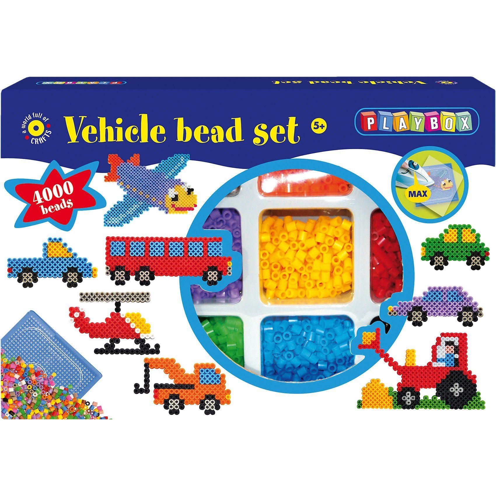Playbox Großes Bügelperlenset Fahrzeuge, 4.000 Perlen & Zubehör