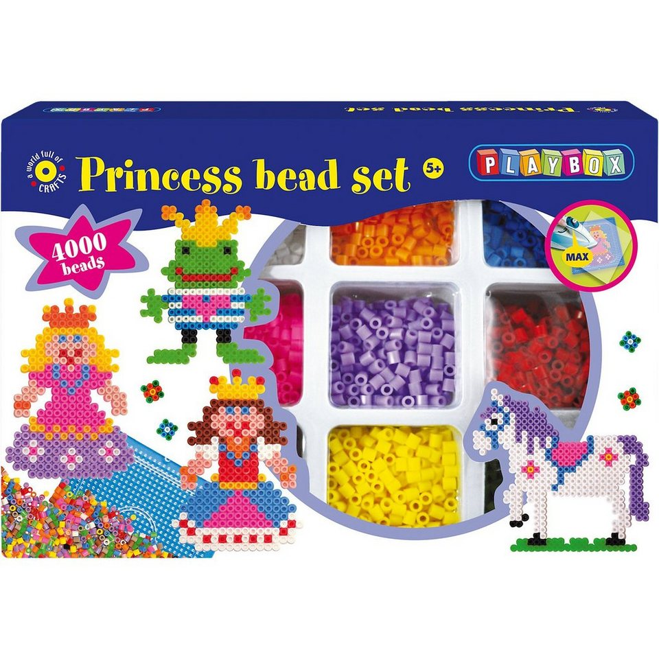 Playbox Großes Bügelperlenset Prinzessin, 4.000 Perlen & Zubehör