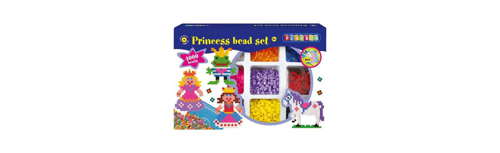Playbox Großes Bügelperlenset Prinzessin, 4000 Perlen & Zubehör