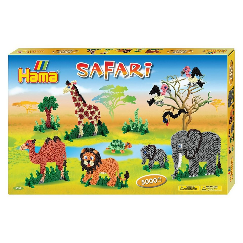 Hama Perlen HAMA 3032 Geschenkset Safari, 5.000 midi-Perlen & Zubehör