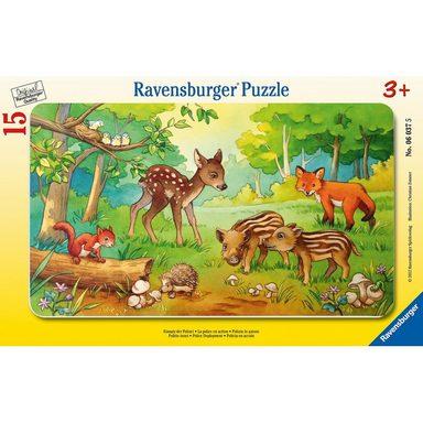 Ravensburger Rahmen-Puzzle, 15 Teile, 25x14,5 cm, Tierkinder des Waldes