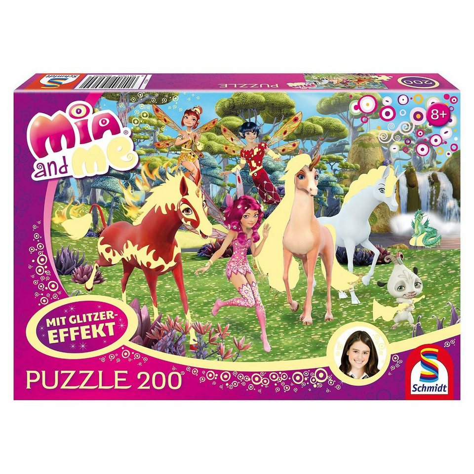 Schmidt Spiele Glitzerpuzzle Mia and Me - In Centopia - 200 Teile