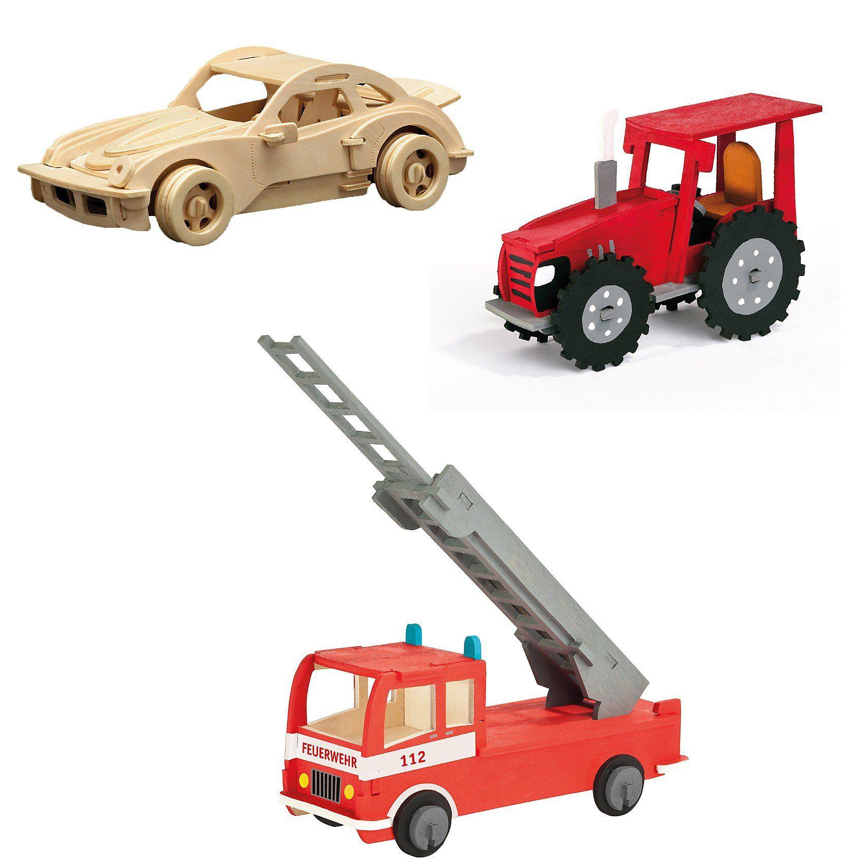 Pebaro Holzbausatz-Set Traktor, Feuerwehr & Rennwagen
