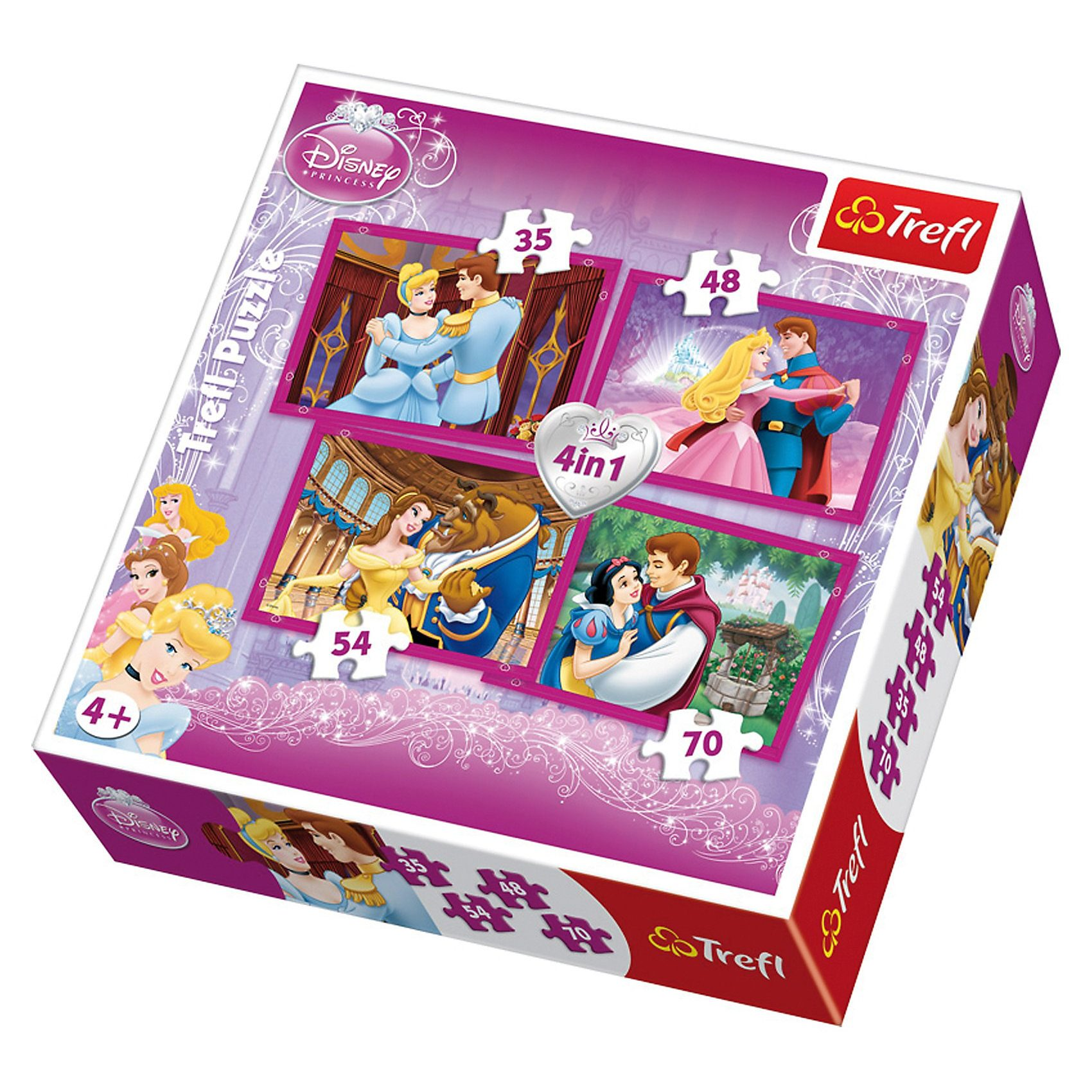 Trefl Puzzle-Set 4in1 - 35/48/54/70 Teile - Princess