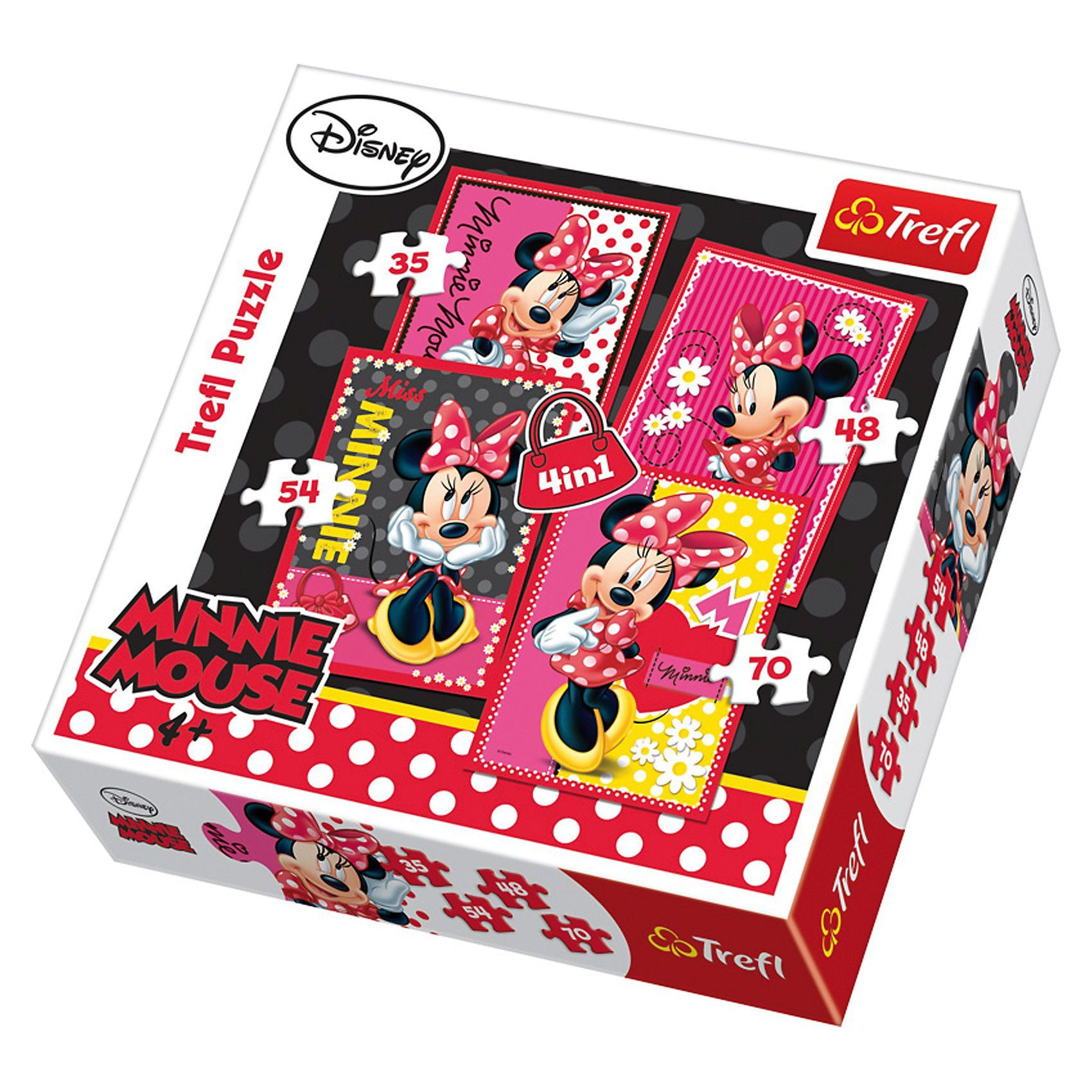Trefl Puzzle-Set 4in1 - 35/48/54/70 Teile - Minnie Mouse