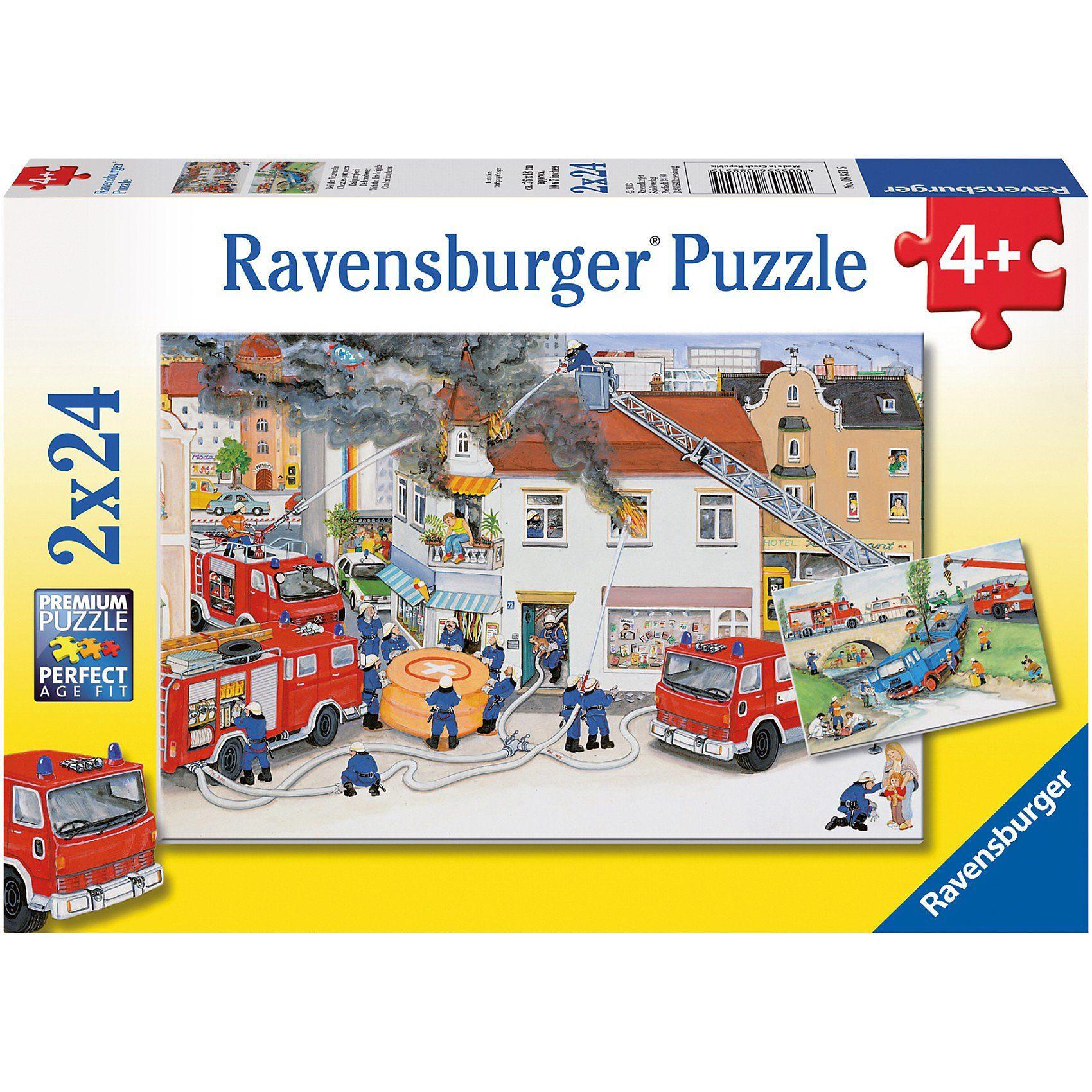 Ravensburger 2er Set Puzzle, je 24 Teile, 26x18 cm, Bei der Feuerwehr