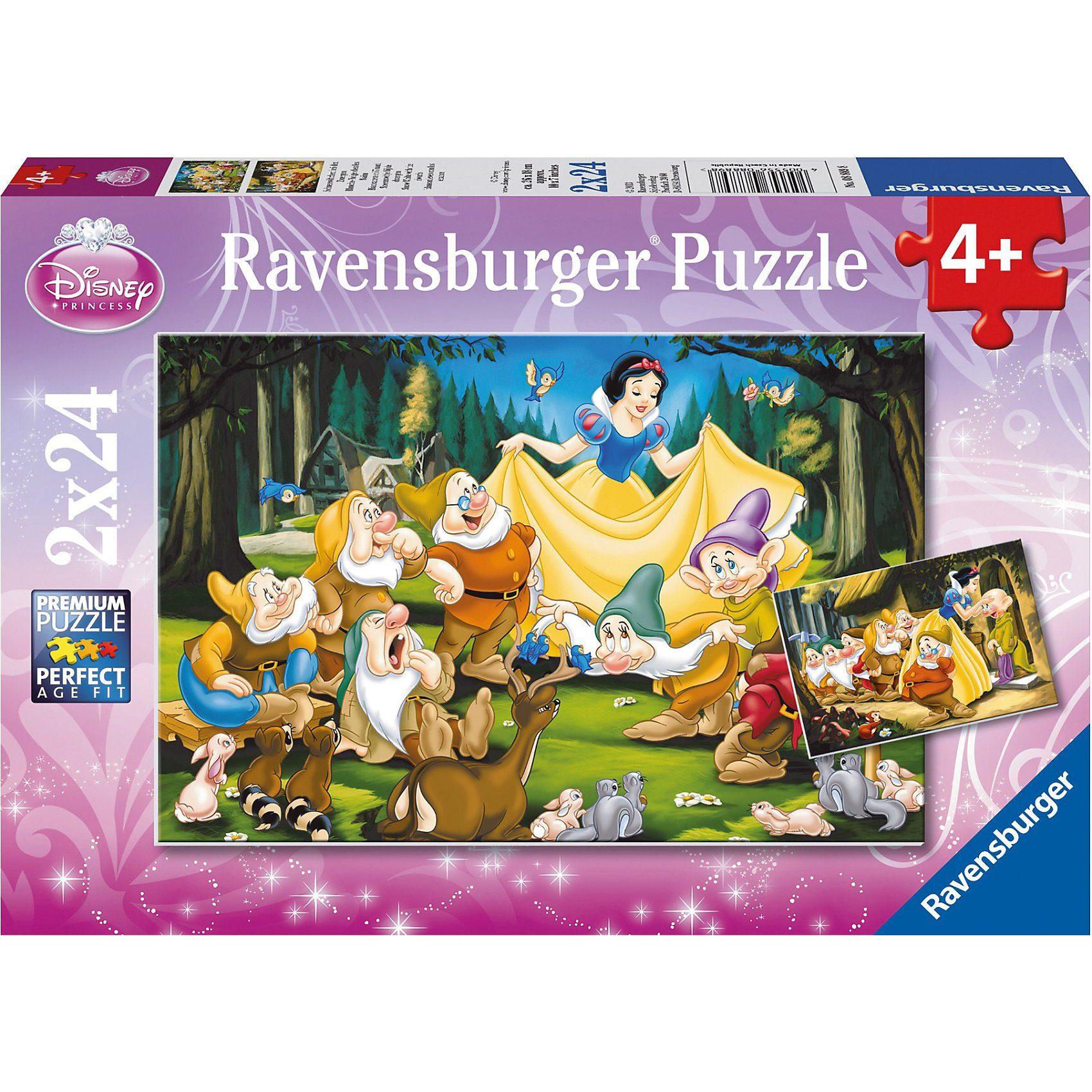 Ravensburger Puzzleset Disney Princess Schneewittchen und Zwerg 2 x 24 Te
