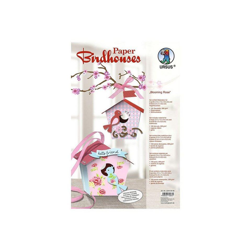 URSUS Paper Birdhouses Blooming Rose
