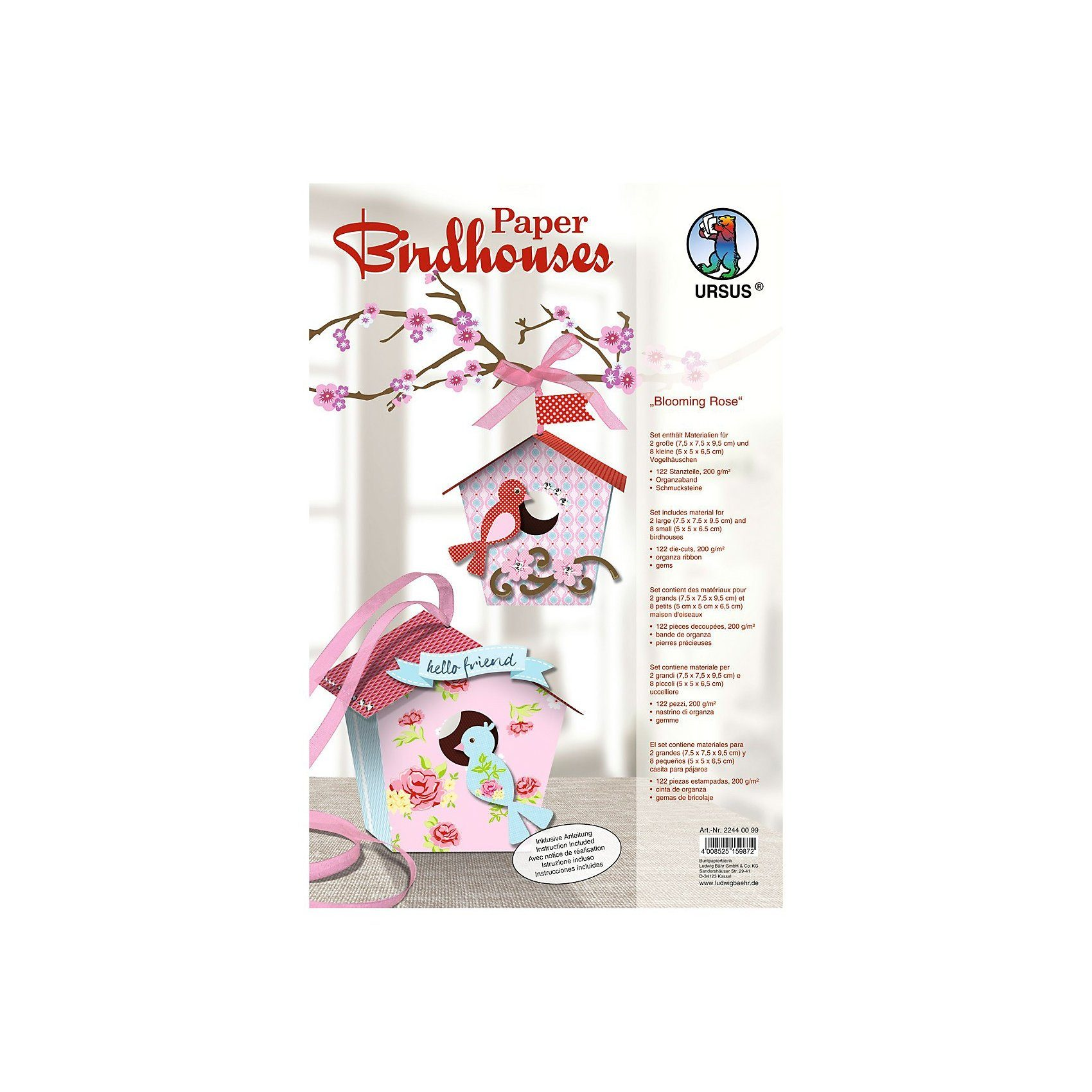 URSUS Paper Birdhouses Blooming Rose