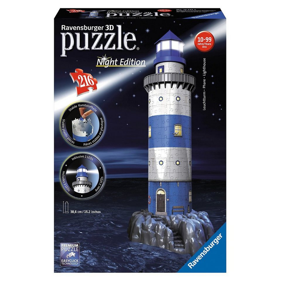 Ravensburger 3D Gebäude Puzzle Leuchtturm bei Nacht 216 Teile