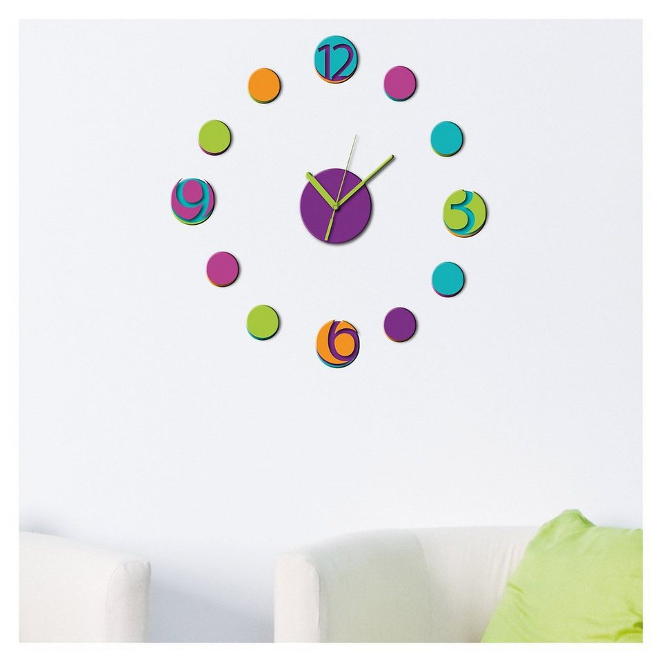 Wandsticker 3D Uhr, 13-tlg. in mehrfarbig