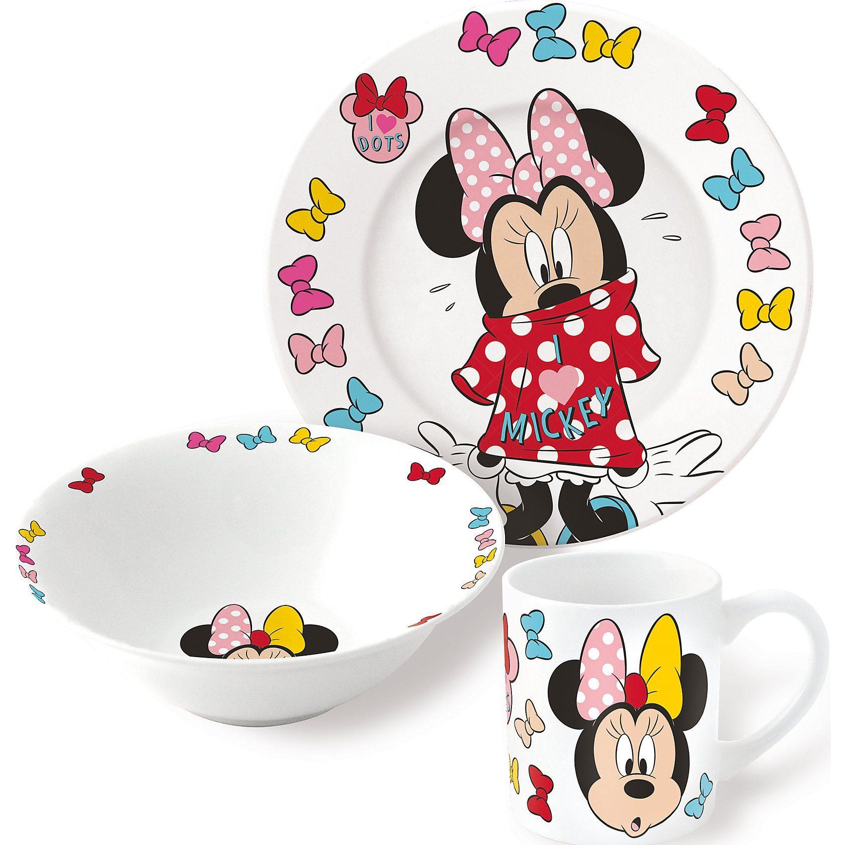 P:OS Kindergeschirr Minnie Mouse Keramik, 3-tlg.