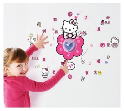 WORLDS APART Wanduhr mit Leuchtstickern, Hello Kitty, 51-tlg.