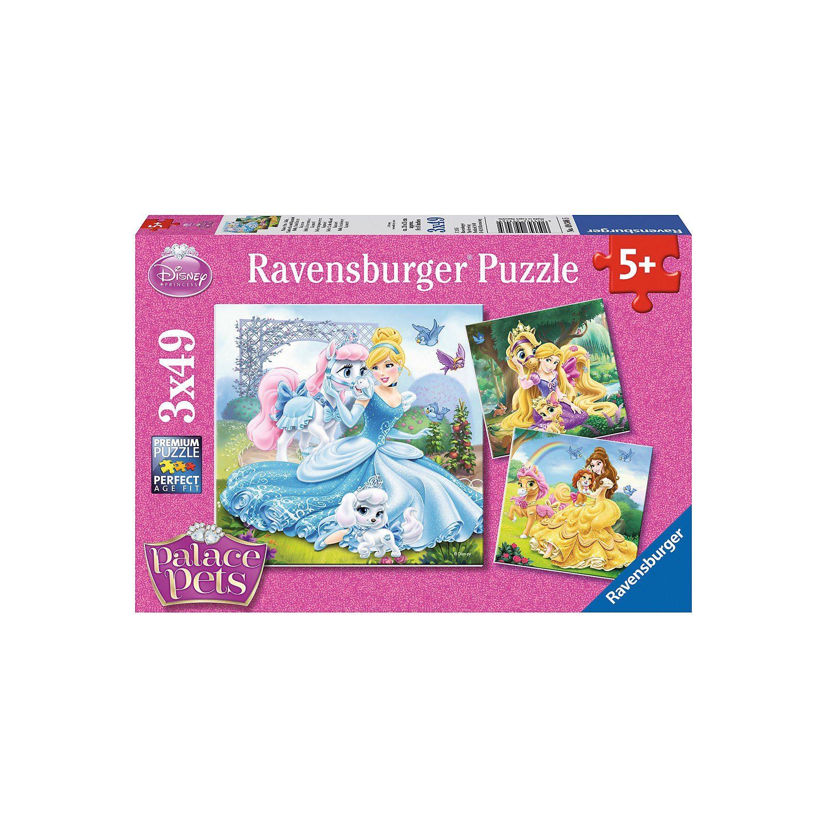 Ravensburger 3x49 Teile Disney Palace Pets Belle, Cinderella und Rapunzel