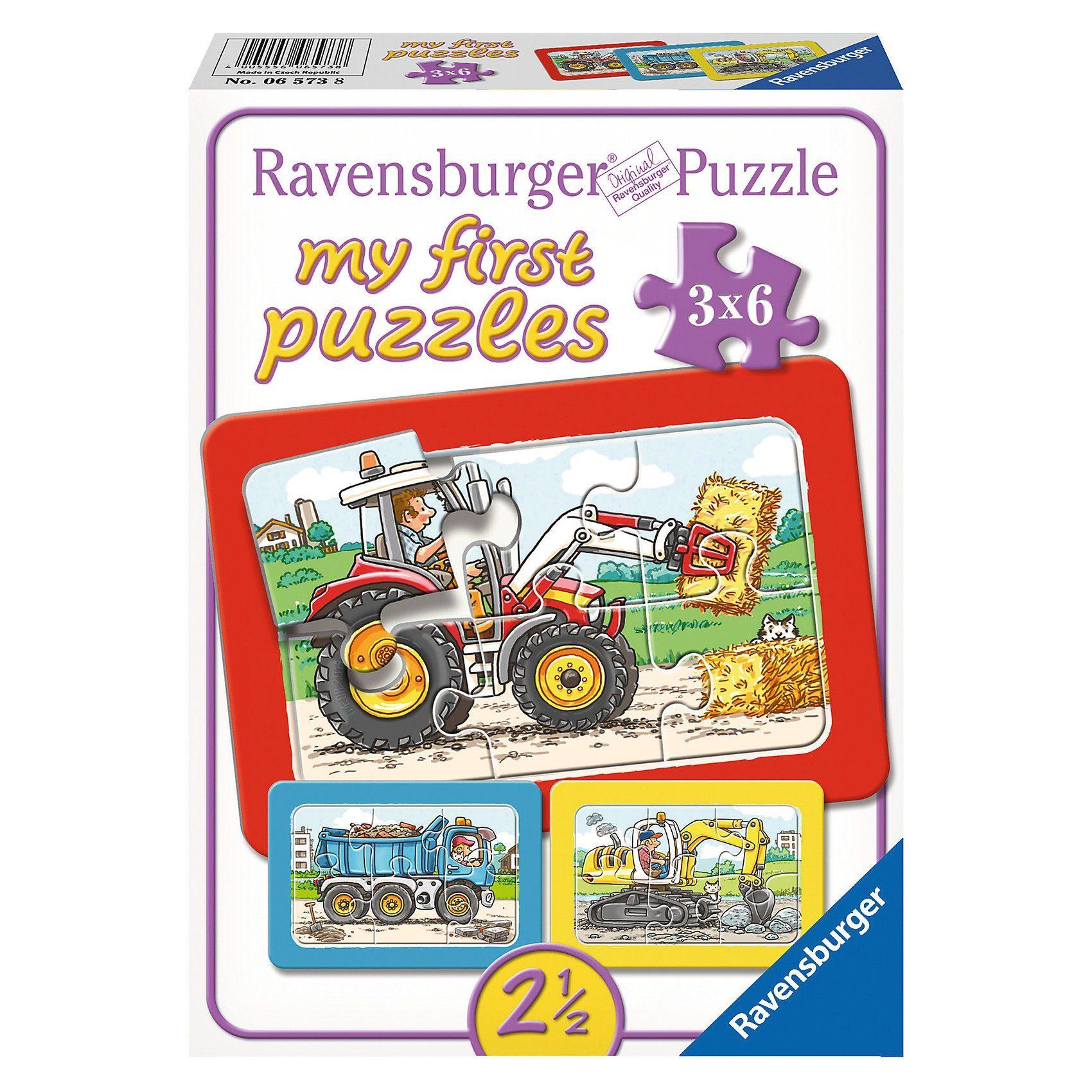 Ravensburger My first Puzzles - Rahmenpuzzle Bagger, Traktor und Kipplad