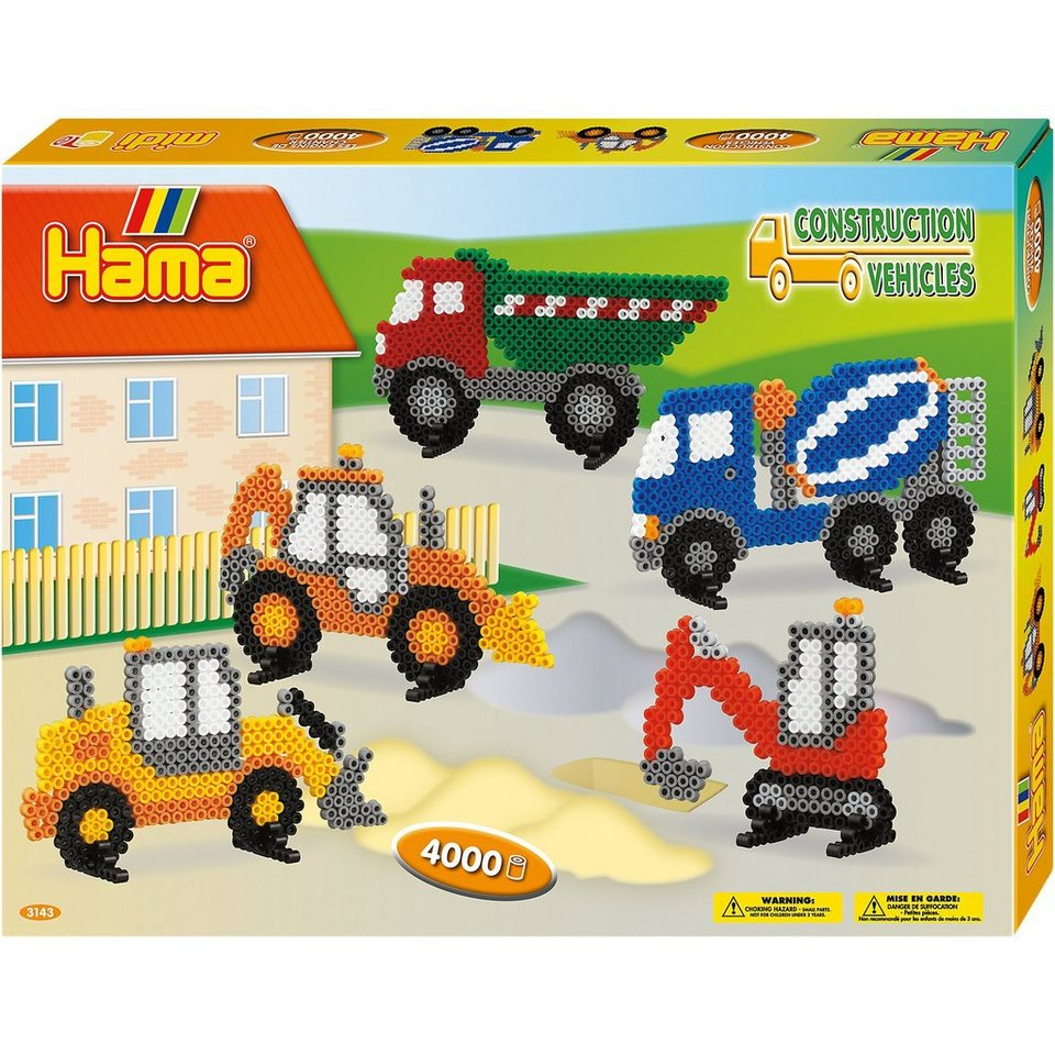 Hama Perlen HAMA 3143 midi-Geschenkset Baufahrzeuge, ca. 4.000 Stück & Z